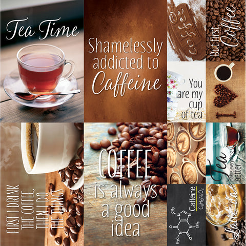 "Coffee & Tea Poster Stickers 12""X12""-"