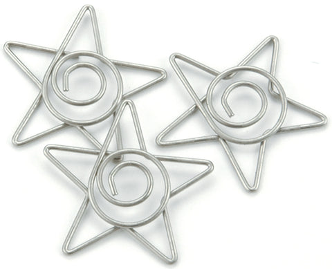 "Metal Spiral Star Paper Clips 1"" 15/Pkg-Pewter"