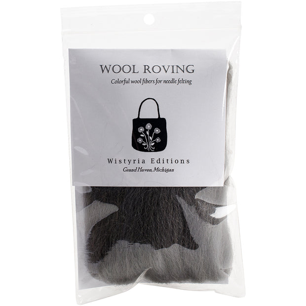 "Wistyria Editions Wool Roving 12"" .22oz-Charcoal"