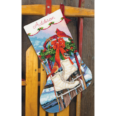 "Dimensions Stocking Needlepoint Kit 16"" Long-Ice Skates Stitched In Wool &"