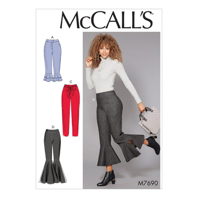 McCalls Misses Pants With Flounce Variations & Sash-14-16-18-20-22