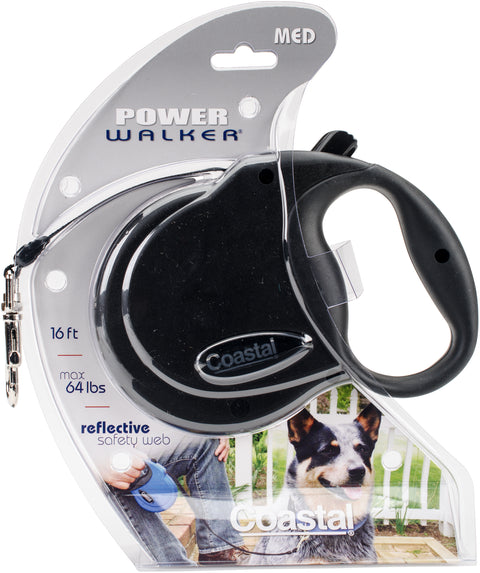 Power Walker 16' Retractable Dog Leash Medium-Black