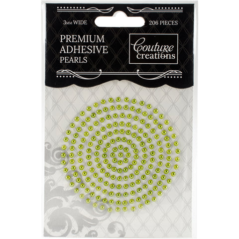 Couture Creations Adhesive Pearls 3mm 206/Pkg-Grass Green