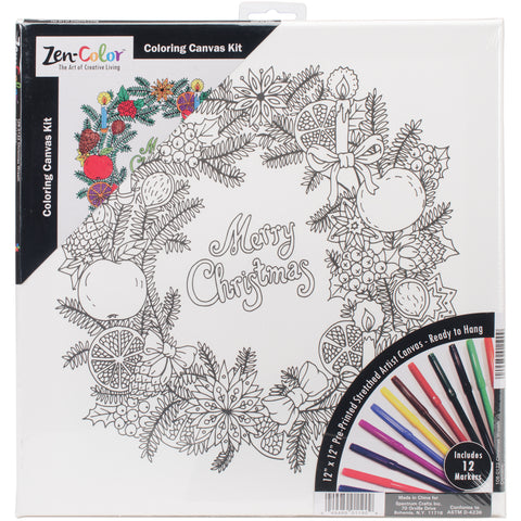 "Adult Holiday Coloring Canvas 12""X12"" W/12 Markers-Christmas Wreath"