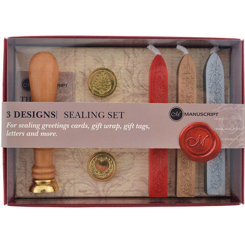 Manuscript Long Handle Design Sealing Set  -Quill, Christmas Tree & Heart