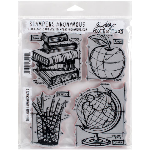 "Tim Holtz Cling Stamps 7""X8.5""-Schoolhouse Blueprint"