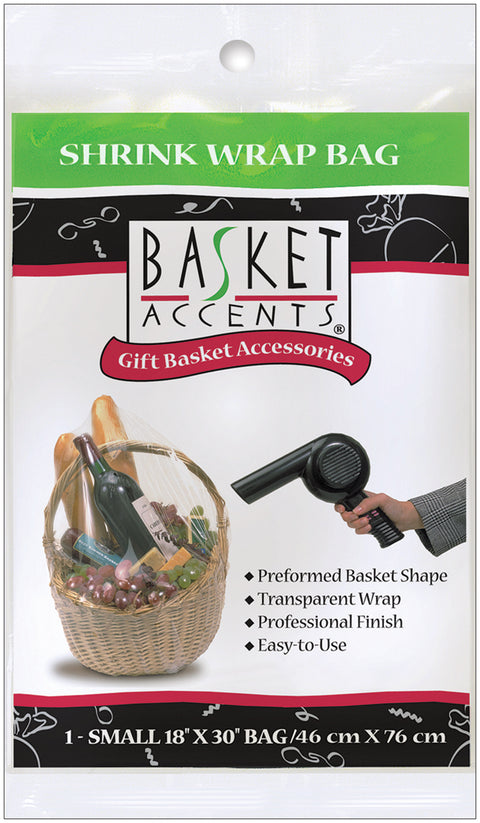 "Basket Accents Shrink Wrap Bag Small 18""X30"" 1/Pkg-Clear"