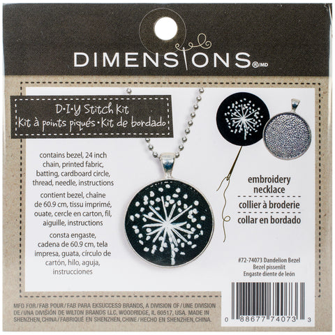 "Dimensions Metal Bezel Jewelry Embroidery Kit 1.25"" Round-Dandelion Pattern"