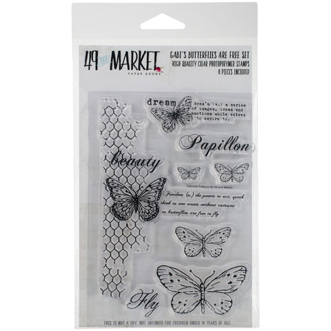 "49 And Market Clear Stamps 4""X6""-Gabi's Butterflies Are Free"