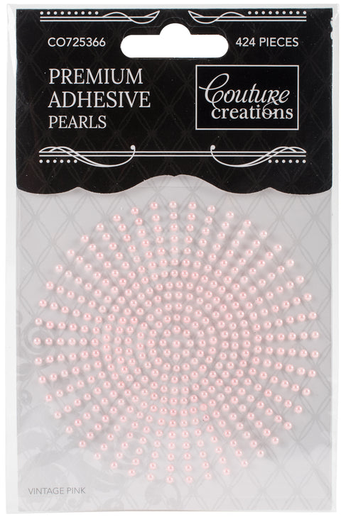 Couture Creations Adhesive Pearls 2mm 424/Pkg-Vintage Pink