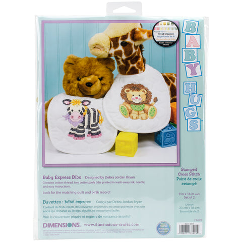 "Dimensions/Baby Hugs Stamped Cross Stitch Kit 9""X14"" 2/Pkg-Baby Express Bibs"