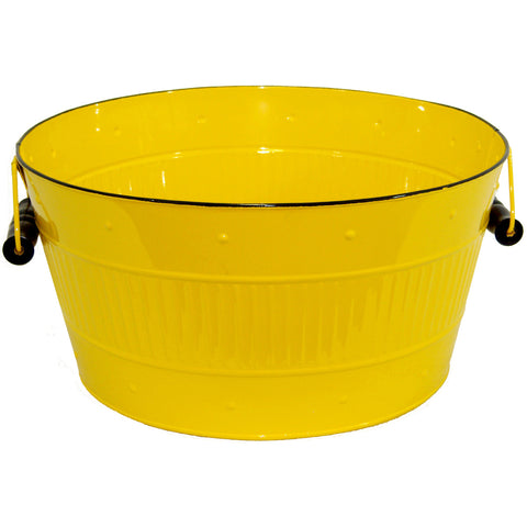 "Round Metal Tub 10""X5.5""-Yellow"