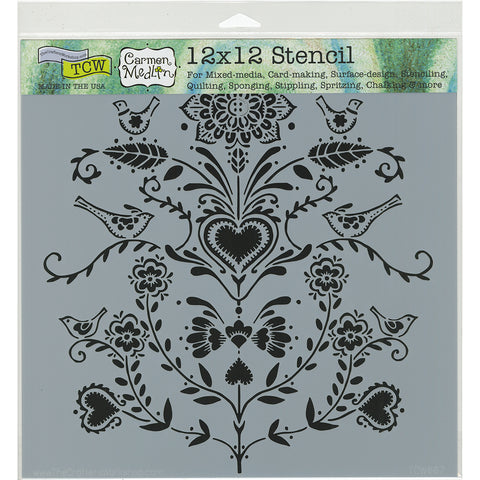 "Crafter's Workshop Template 12""X12""-Scandi Flowers"