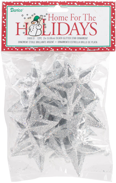 "Glitter Star Ornaments 2"" 12/Pkg-Silver"