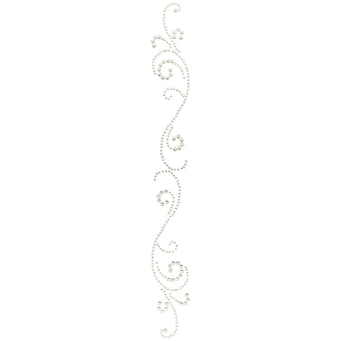 Want2Scrap Adhesive Finesse Swirls Bling-White Pearls