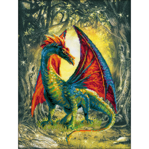 "RIOLIS Stamped Cross Stitch Kit 11.75""X15.75""-Forest Dragon (14 Count)"