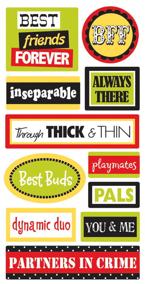 SandyLion Essentials Dimensional Stickers-Friends Words