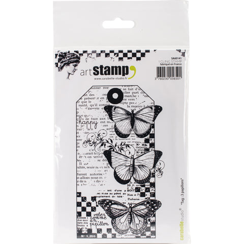 Carabelle Studio Cling Stamp A6-Tag 3 Butterflies