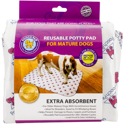 "Reusable Absorbent Potty Pad For Mature Dogs-Medium 20""X27""-White"
