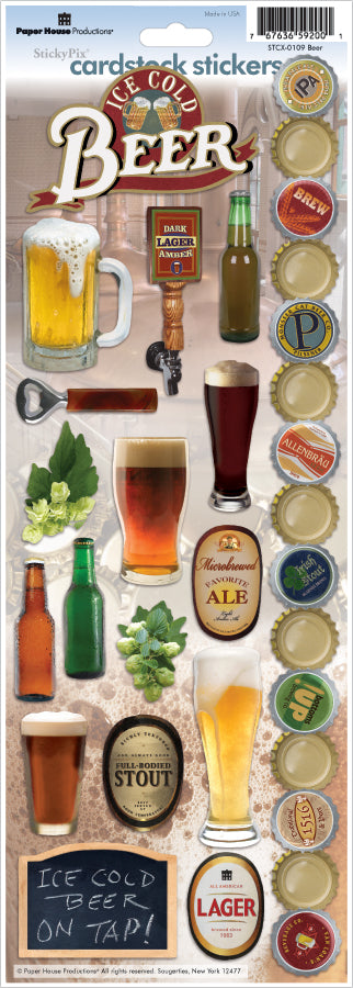 "Paper House Cardstock Stickers 4.625""X13"" -Beer"