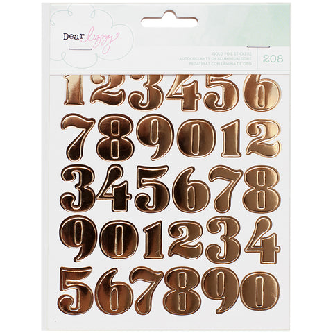 Dear Lizzy Fine & Dandy Sticker Book 6/Pages-Gold Foil Numbers, Hearts & Circles