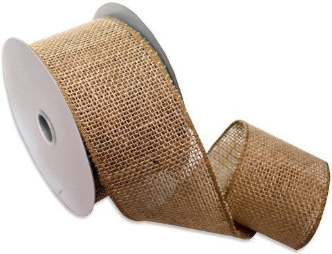 "Burlap Wired Ribbon 2.5""X10yd-Natural"