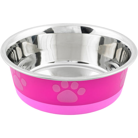 Non-Skid Bonded Stainless Steel Bowl 1qt-Fuchsia With Pink Print
