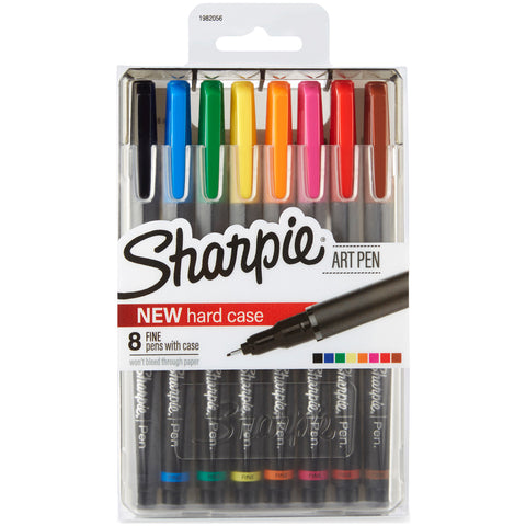 Sharpie Fine Point Art Pen W/Hardcase 8/Pkg-Assorted
