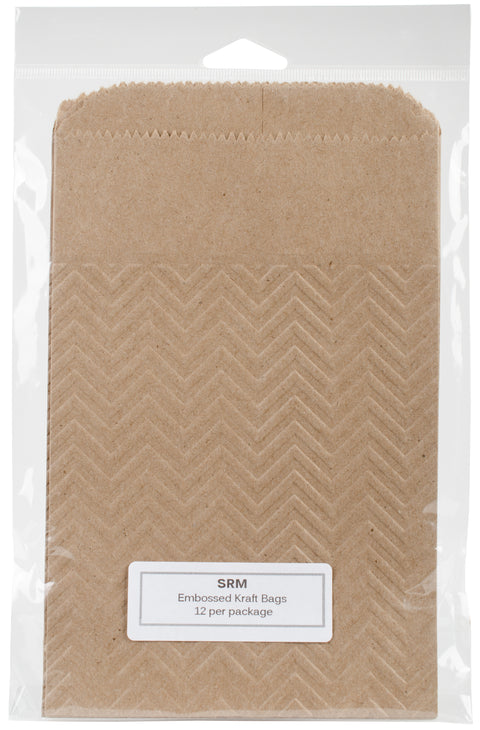 "SRM Embossed Kraft Bags 5""X7.5"" 12/Pkg-Chevron"
