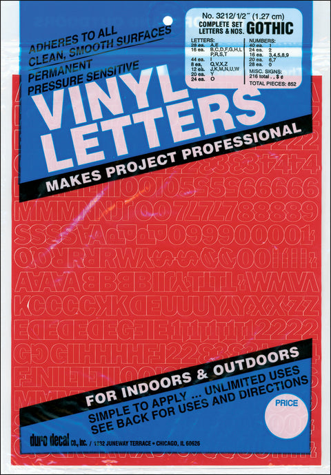 "Permanent Adhesive Vinyl Letters & Numbers .5"" 852/Pkg-Red"
