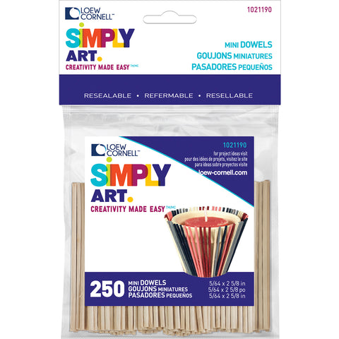 "Simply Art Wood Mini Dowels 2-5/8""-Natural 5/64"" 250/Pkg"