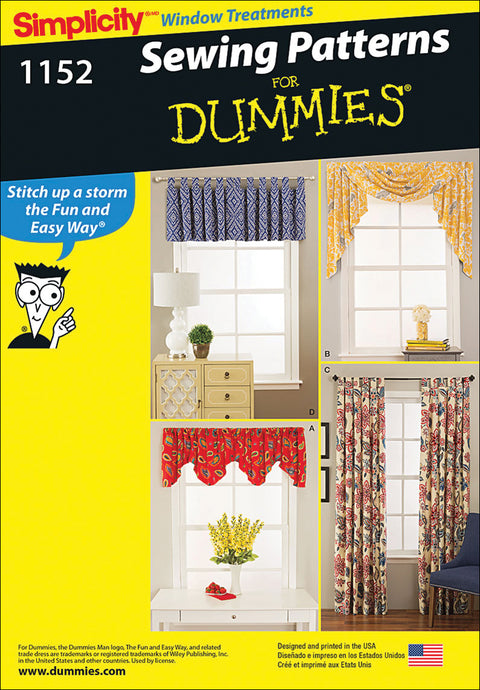 Simplicity Sewing Patterns For Dummies Window Treatments-