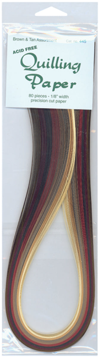 "Quilling Paper .125"" 80/Pkg-Brown & Tan (8 Colors)"
