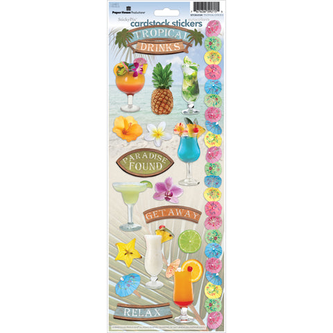 "Paper House Cardstock Stickers 4.625""X13"" -Tropical Drinks"