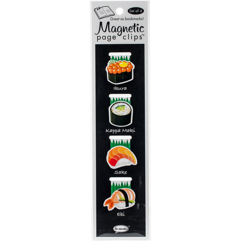 Magnetic Page Clip Bookmarks 4/Pkg-Sushi