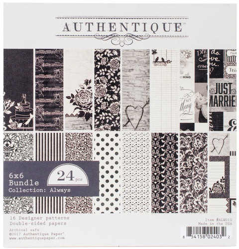 "Authentique Double-Sided Cardstock Pad 6""X6"" 24/Pkg-Always, 8 Designs/3 Each"