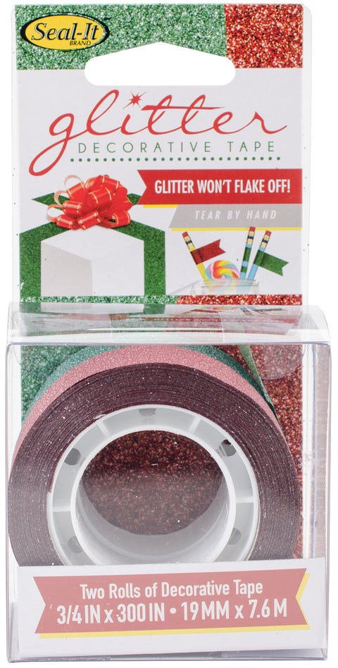 "Le Page's Seal-It Glitter Tape .75""X300"" 2/Pkg-Red & Green"