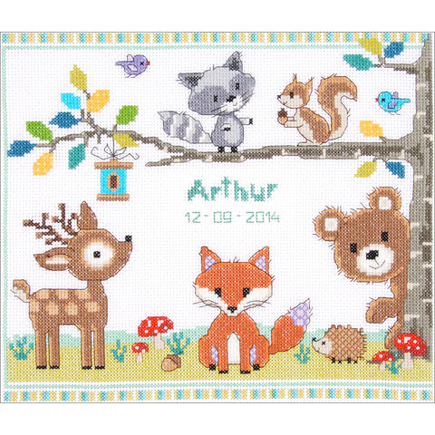 "Vervaco Counted Cross Stitch Kit 11.25""X9.5""-Forest Animals Record On Aida (14"