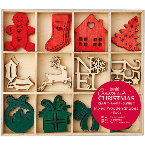 Papermania Create Christmas Wooden Shapes In Tray 48/Pkg-Large Christmas Icons