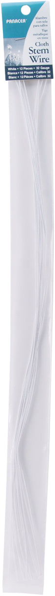 "Cloth Covered Stem Wire 32 Gauge 18"" 12/Pkg-White"
