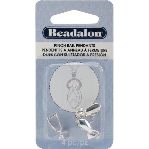 Pendant Pinch Bails 22mm 4/Pkg-Silver-Plated