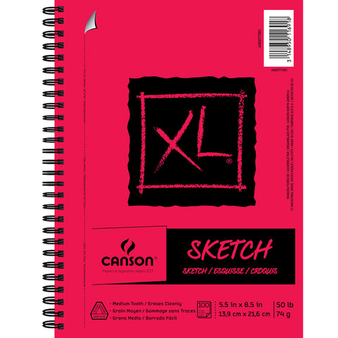 "Canson XL Recycled Side Spiral Sketch Paper Pad 5.5""X8.5""-100 Sheets"