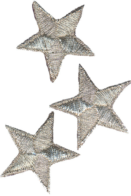 Wrights Iron-On Appliques 3/Pkg-Silver Metallic Stars