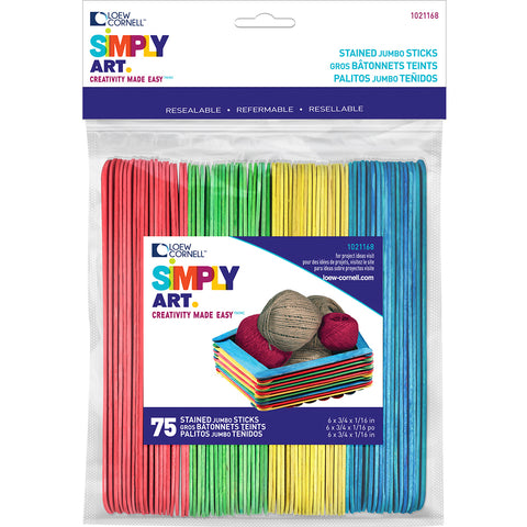 "Simply Art Wood Jumbo Craft Sticks-Colored 6"" 75/Pkg"