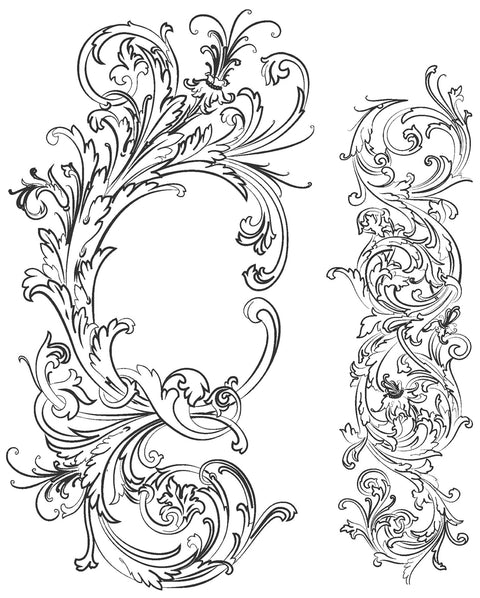 "Tim Holtz Cling Stamps 7""X8.5""-Fabulous Flourishes"