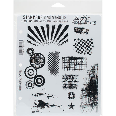 "Tim Holtz Cling Stamps 7""X8.5""-Bitty Grunge"