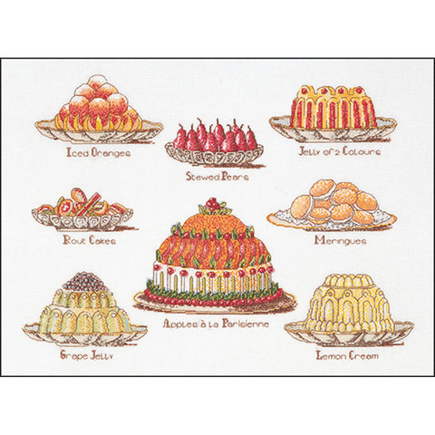 "Thea Gouverneur Counted Cross Stitch Kit 15.25""X20.5""-Sweet Dishes On Aida (16"