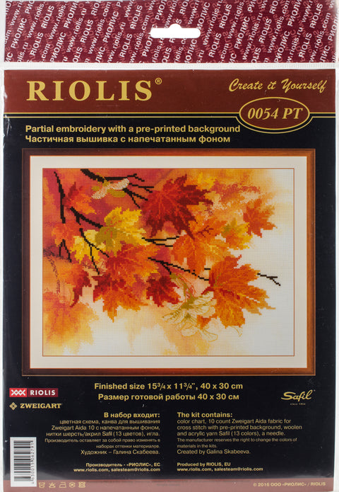 "RIOLIS Stamped Cross Stitch Kit 15.75""X11.75""-Autumn Colors (10 Count)"