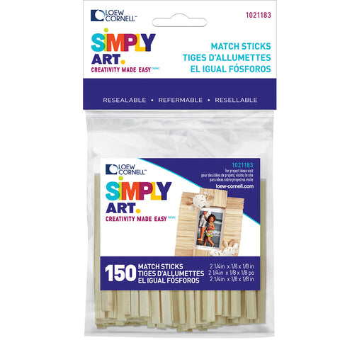 "Simply Art Wood Match Sticks-Natural 2.25"" 150/Pkg"