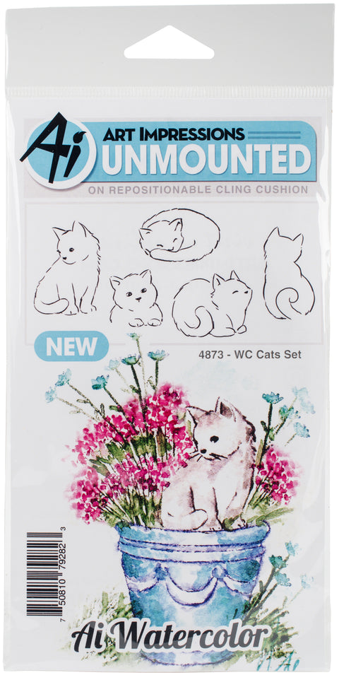 Art Impressions Watercolor Cling Rubber Stamps -Cats